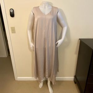 PESERICO Taupe Silky Monili Maxi Dress Sz 48/12